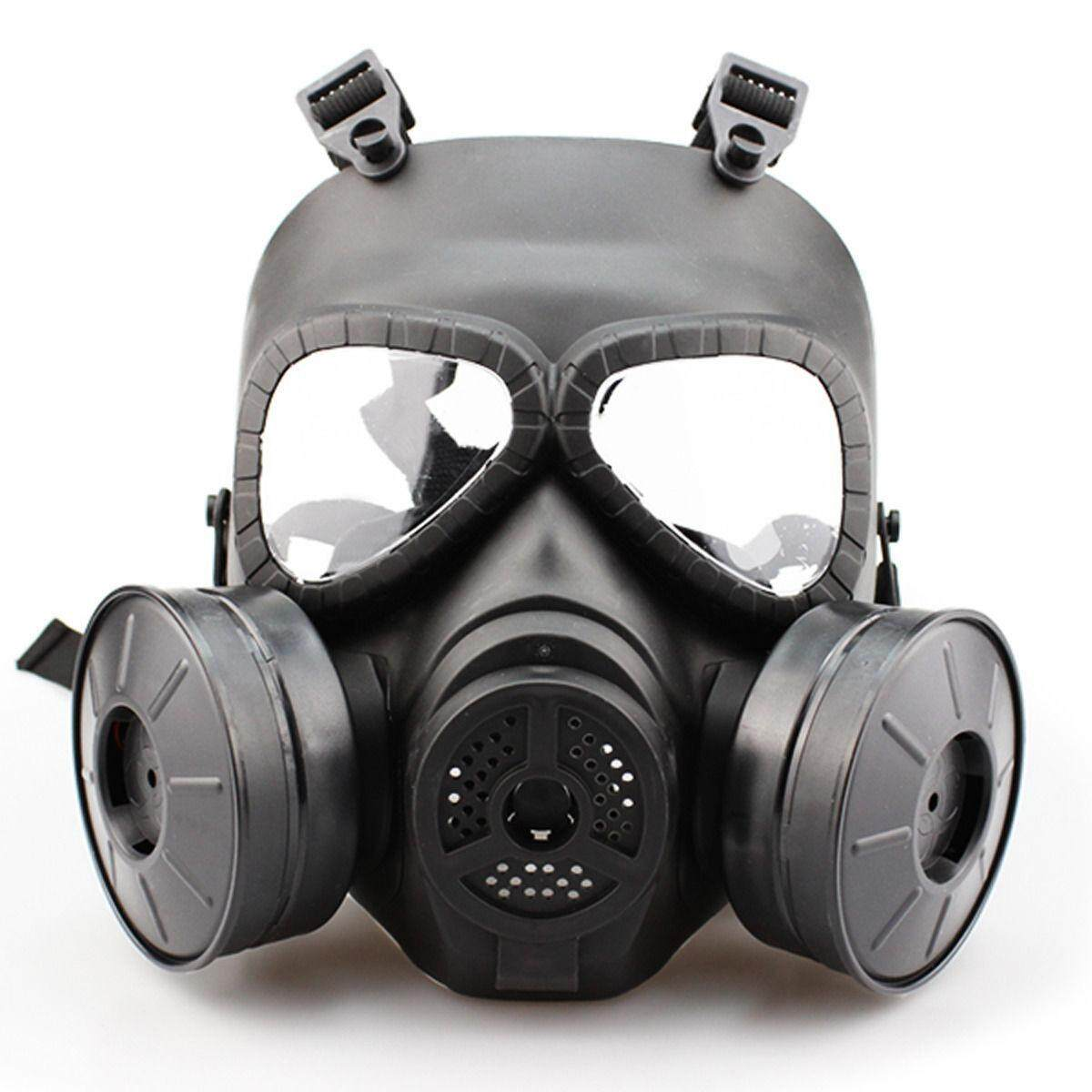 Dust Full Face Guard Airsoft Double Filter Gas Mask Fan CS Edition Perspiration