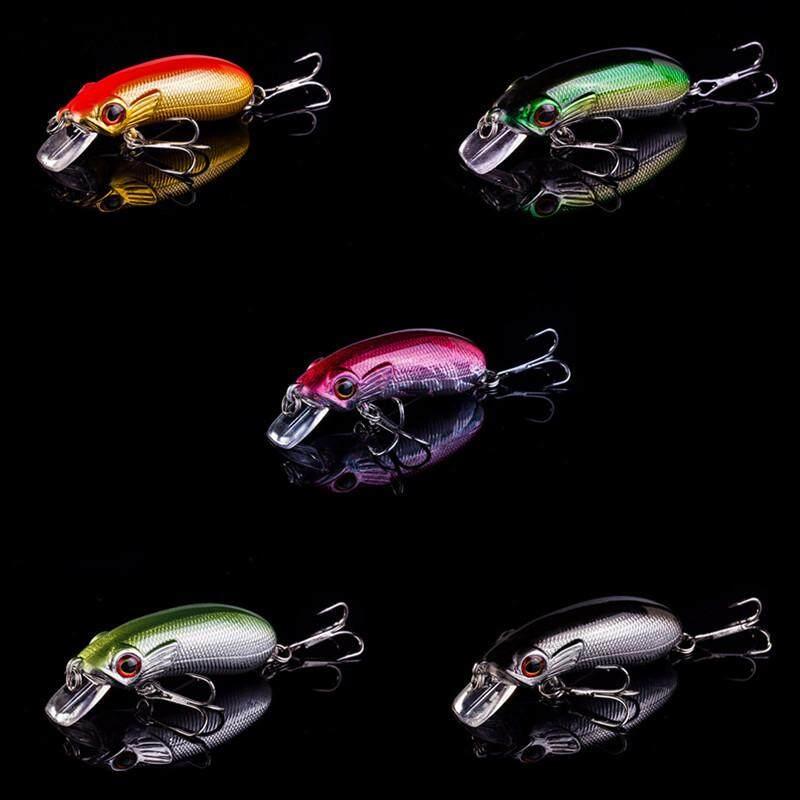 5 Pcs Katak Sinar 3D Mata Katak Luya Umpan Bionik Bercahaya Mino Umpan 4.5 Cm/