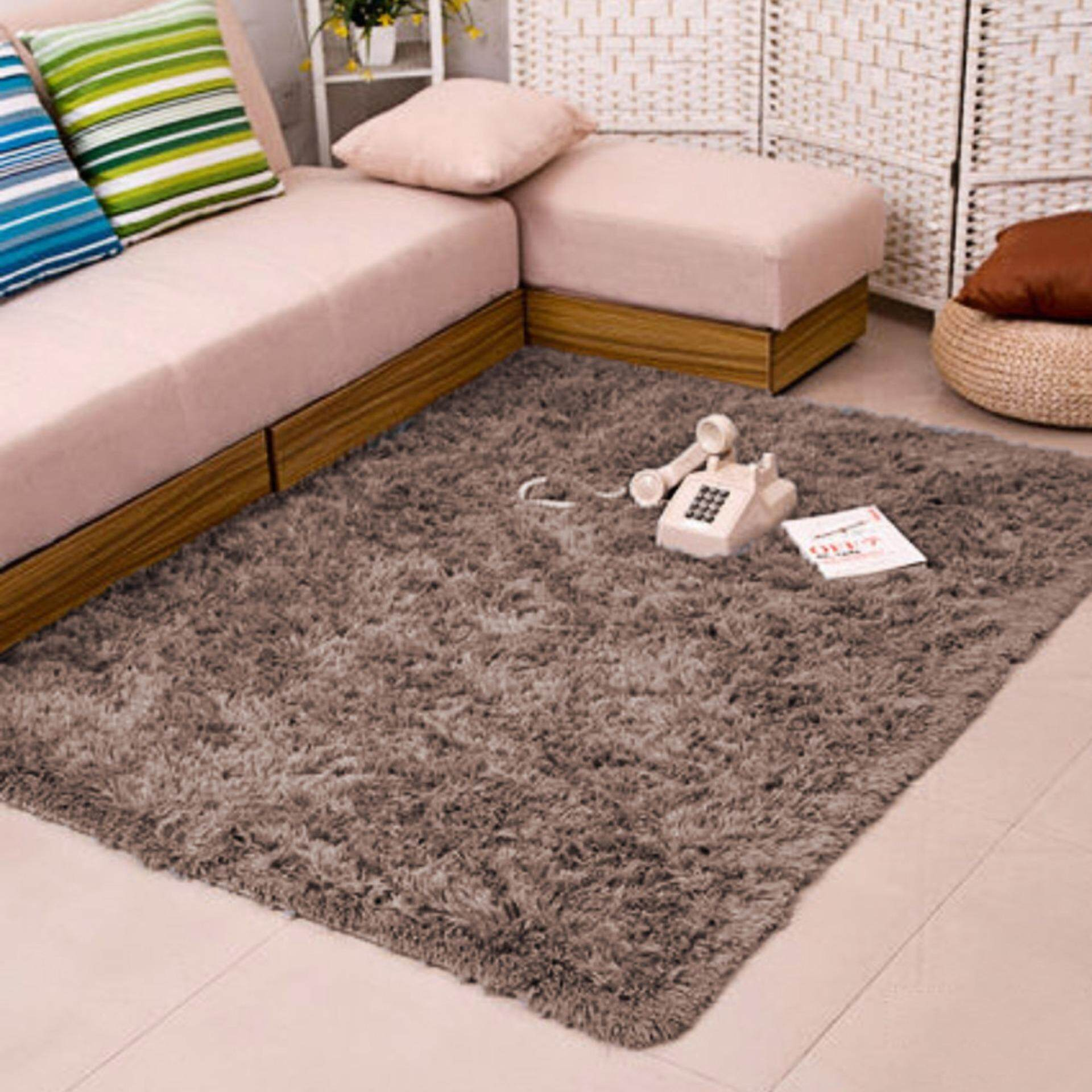 1.2m x 1.6m Fluffy Fashion Modern Floor Area Rug Carpet Mat for Living Room Bedroom Home Accessory Grey