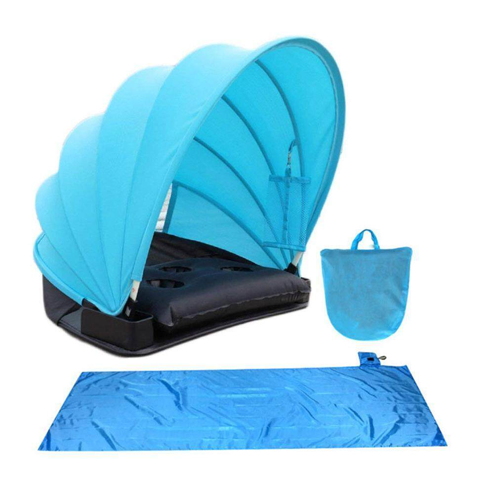leegoal Portable Adjustable Beach Sun Shade Canopy With Mat Storage Bag