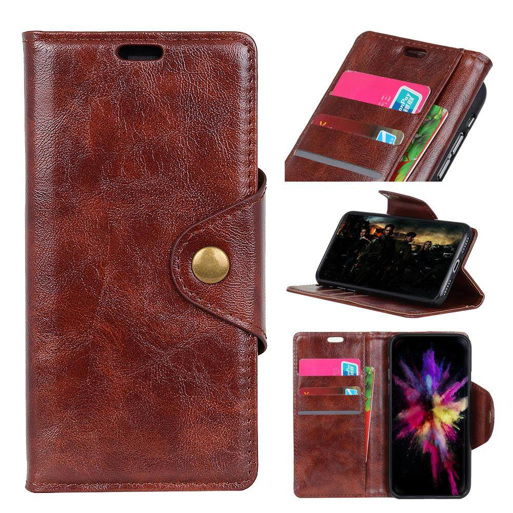 AS beauty Phone Case, For Alcatel U5 HD PU Leather Case Cowhide Pattern Flip Stand Cover with Card Slots and Copper Magnetic Closure - intl