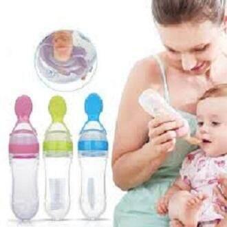 Infant Silica Gel Feeding Bottle With Spoon Blue