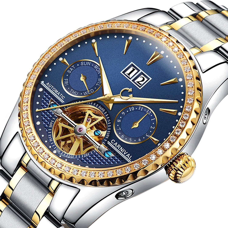 11e45597edc Whatsko Carnival Men s Watch Automatic Mechanical Tourbillon Stainless  Stell Date Blue Dial Diamond Watches