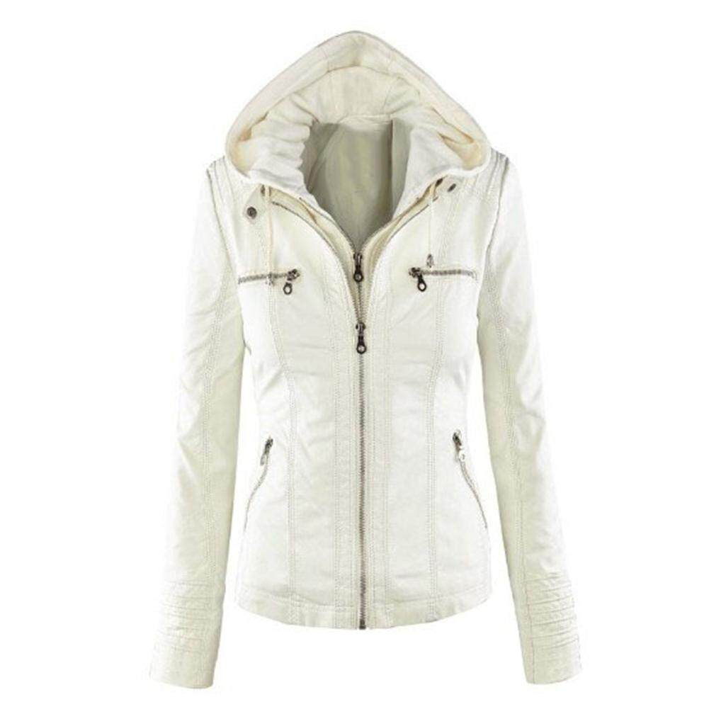 Fs Big Sale Women Pu Jacket Long Sleeve Zipper Leather Hooded Coat Fashionable Outwear By Four Season Big Sale.