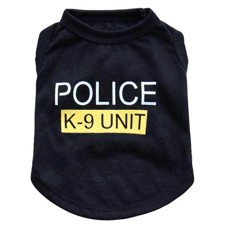 Cat Pet Police Vest Coat Clothes Summer Jacket Apparel Costumes Black