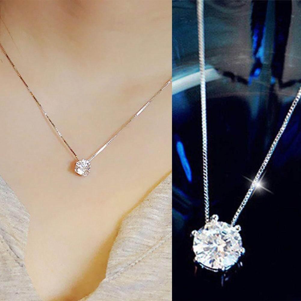 Women Simple Trendy Zircon Rhinestone Choker Necklace Diamond Silver Chain By Happy Buy Now Store