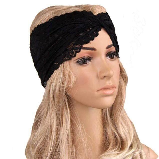 Wanita Headwear Memutar Olahraga Yoga Renda Ikat Kepala Turban Headscarf Pembungkus Hitam-Internasional