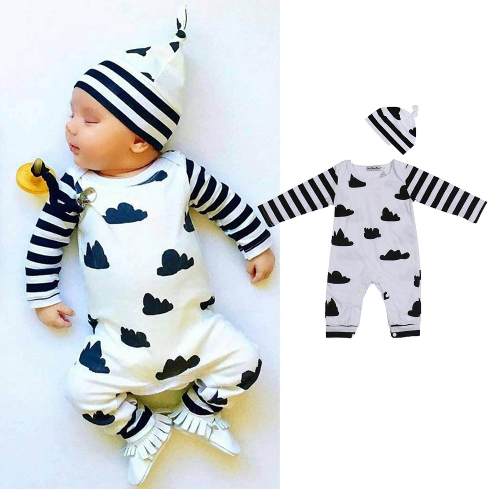 056c002c3 2Pcs Cute&Soft Newborn Infant Baby Clothes Romper + Hat Outfits Sets Toddler  Kids Boys and Girls