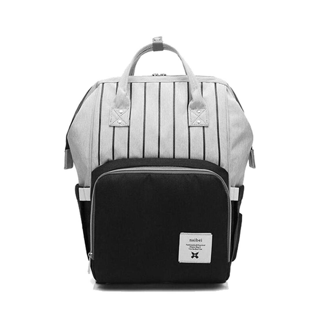 Black fashion diapers large-capacity multi-function care bag children  travel striped backpack baby a5c8782794b42