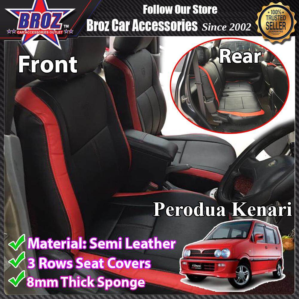 CUSTOM FIT OEM CAR SEAT OR CAR CUSHION COVER PERODUA KENARI RED BLACK SEMI- LEATHER