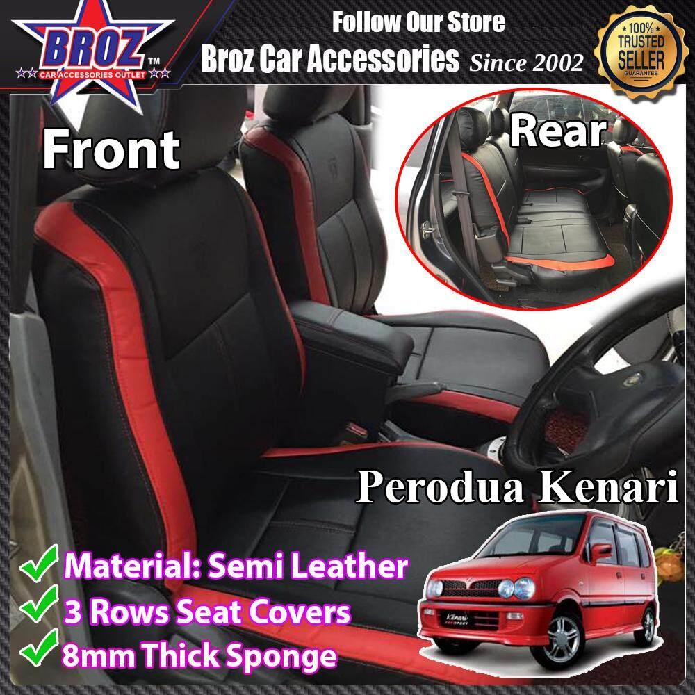 CUSTOM FIT OEM CAR SEAT OR CAR CUSHION COVER PERODUA KENARI RED BLACK SEMI- LEATHER