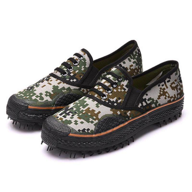 Pria Pasukan Tentara Sepatu Bebas Kanvas Sepatu Loreng Anti-Slip Anti-Wear Militer Sepatu Olahraga Pertanian Outdoor Boot Outdoor (Kamuflase) -Intl