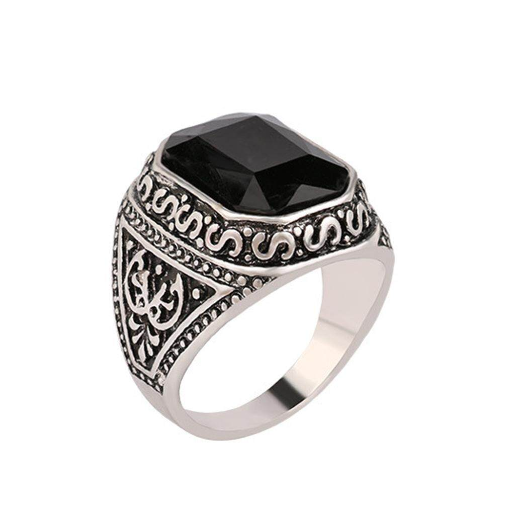 Rp 46.000 BolehDeals Black Mosaiced Rhinestone Ring Pattern Carved Bridal ...