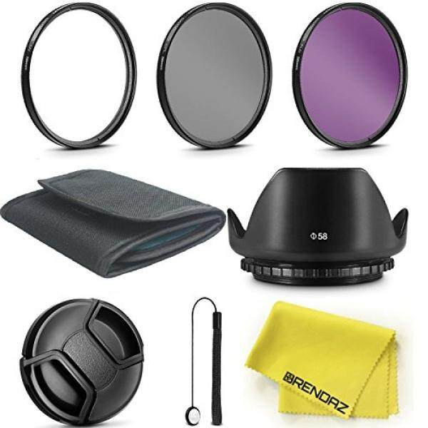 58 Mm Filter Lensa Kit dengan Brendaz untuk Canon EOS Rebel T5i T4i T3i T3 T2i T1i XT Xti XSI SL1 Kamera DSLR ,, UV CPLE FLD Filter dengan Lensa Tulip Hood Bundel. -Intl
