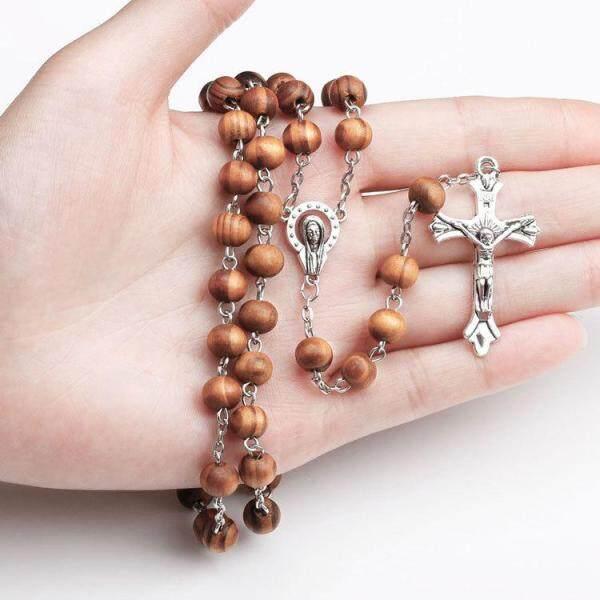 Hạt Gỗ Công Giáo Vòng Cổ Chuỗi Hạt, Dây Chuyền Tôn Giáo Dài Thánh Giá Đức Giêsu Kitô Đức Mẹ Mary