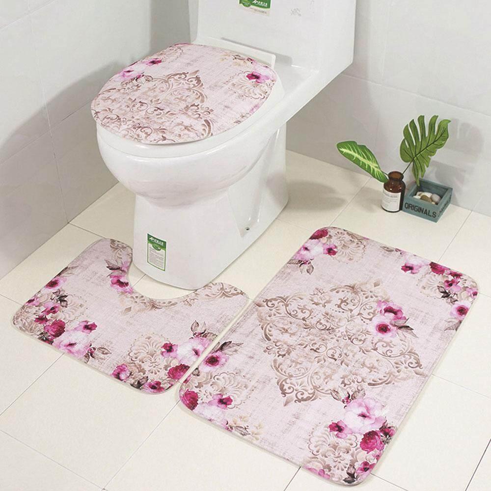 Leegoal Slip-Resistant 3 Pcs Bathroom Carpet Toilet Pedestal Covers By Leegoal.