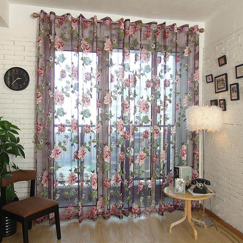 Amart 2Pcs Window Curtain Transparent Peony Flower Windows Panel Balcony Living Room Bathroom Bedroom Curtains Home Decoration - intl
