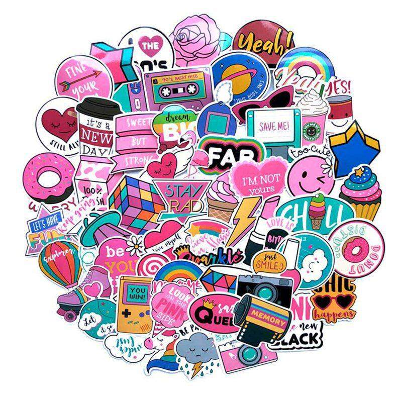 Bzy 60 Pcs/pack Pvc Waterproof Pink Girls Fun Sticker The Luggage Stickers For Moto Car & Suitcase Cool Laptop Stickers By Beautyzy.