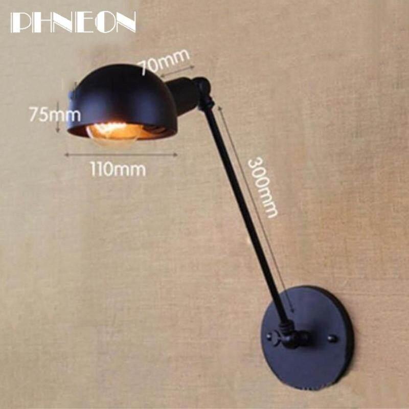 PHNEON New Vintage Industrial Style Loft Creative Minimalist Long Arm Wall Lamp Adjustable Handle Metal Rustic Light Sconce Fixtures - intl