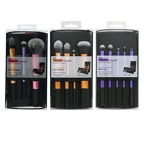 Real Techniques Real Techniques Brush Set (Technique Essentials 1400, Flawless Base Set 1533, Enhanced Eye 1534) - intl