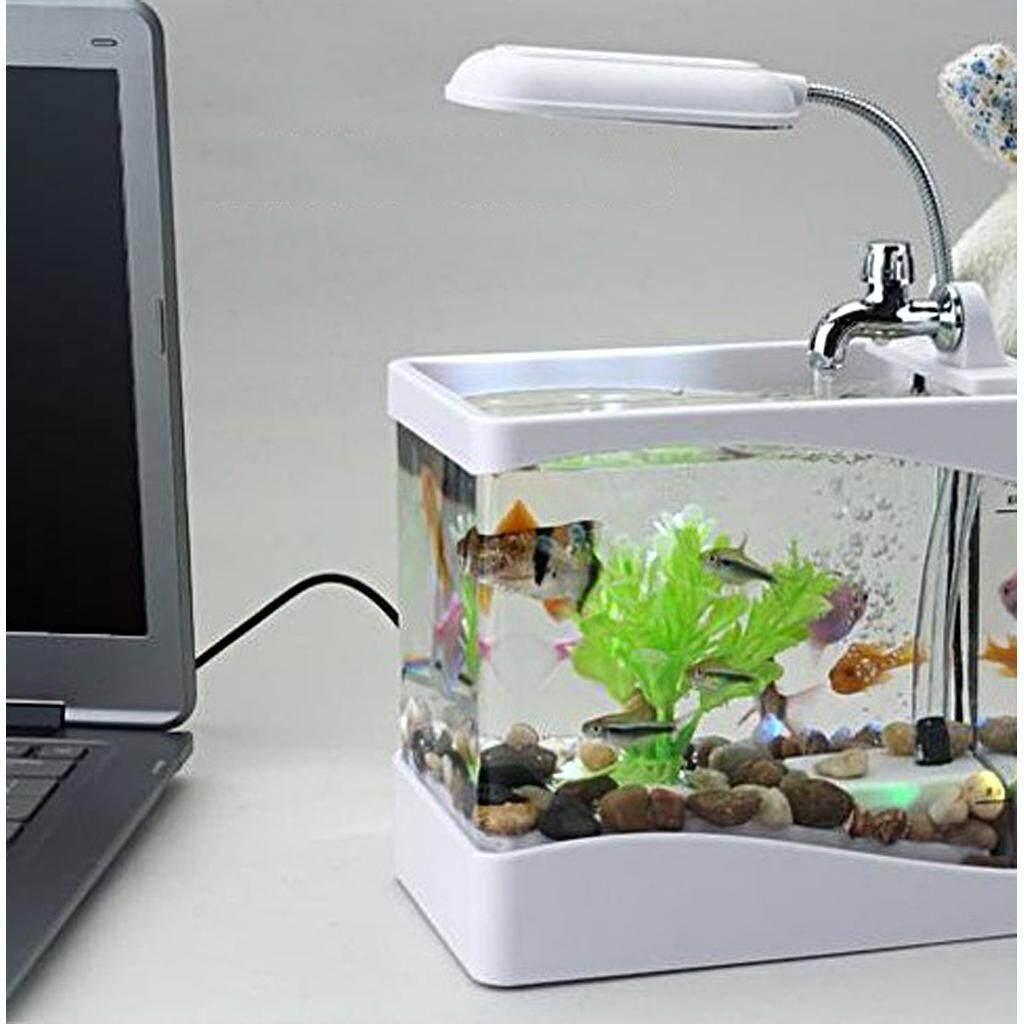 BolehDeals Mini USB Desktop Aquarium LCD Display Fish Tank Clock LED Lamp Light Black/ White