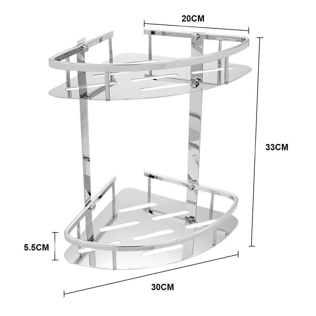 SUS304 Stainless Steel 2 tiers Storage Shelves Triangle BasketShower ...