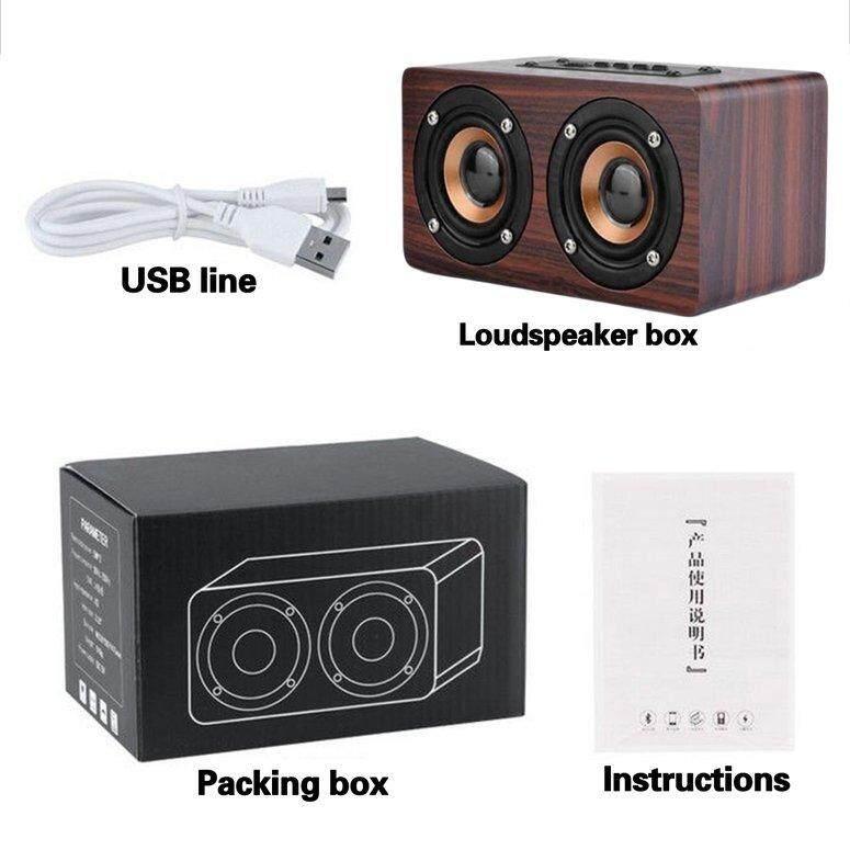 Lifef Speaker Kayu Pengeras Suara Bertenaga Bluetooth Kinerja Tinggi Pengeras Suara Ganda