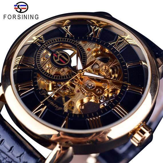 Forsining 3D Desain Logo Hollow Engraving Hitam Gold Case Kulit Kerangka Jam  Tangan Mekanik Pria Merek b1b8d7d58c