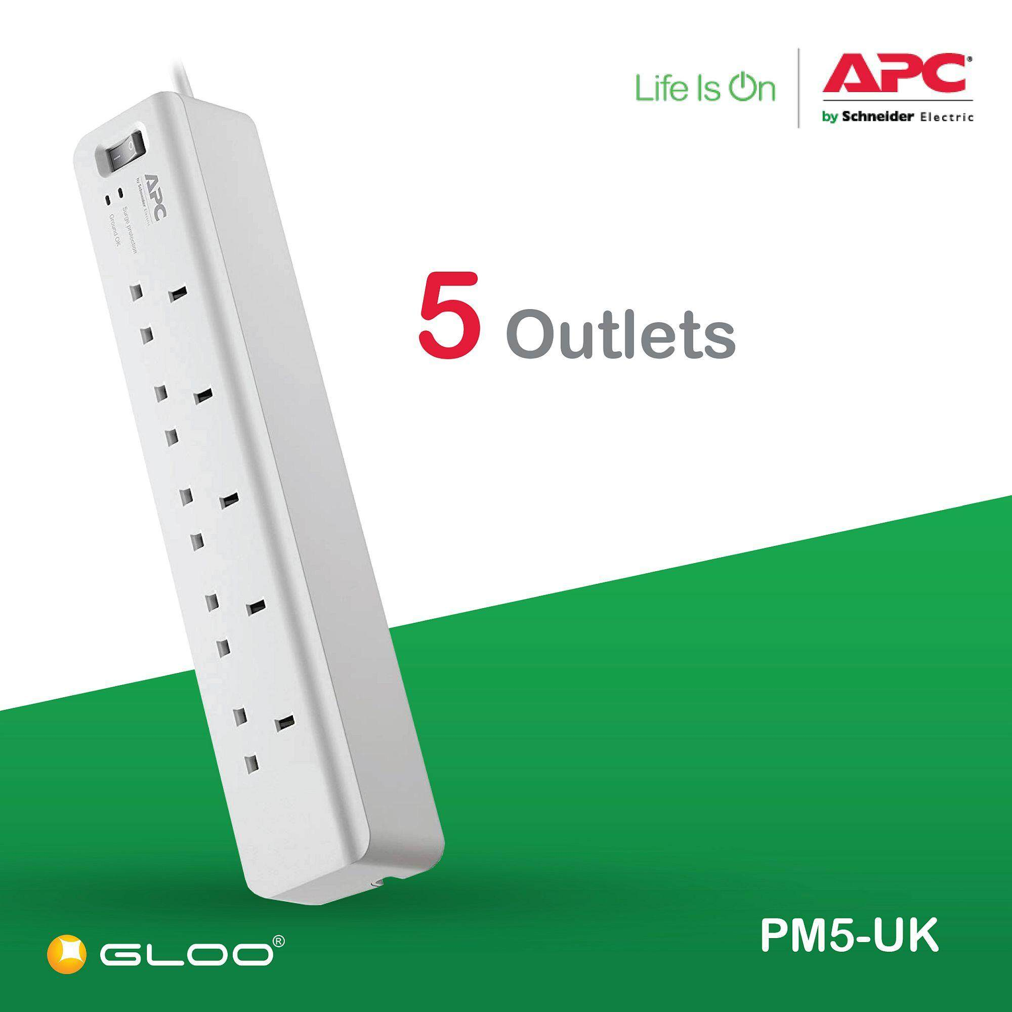 APC Essential SurgeArrest 5 outlets 230V UK PM5-UK - White [Free RM20 BHP Petrol Voucher from 29 Aug - 16 Sept 2019]