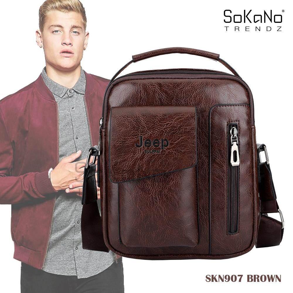 (RAYA 2019) SoKaNo Trendz SKN907 Jeep Vertical PU Leather Sling Shoulder Beg Lelaki Cross Men Bag Gift