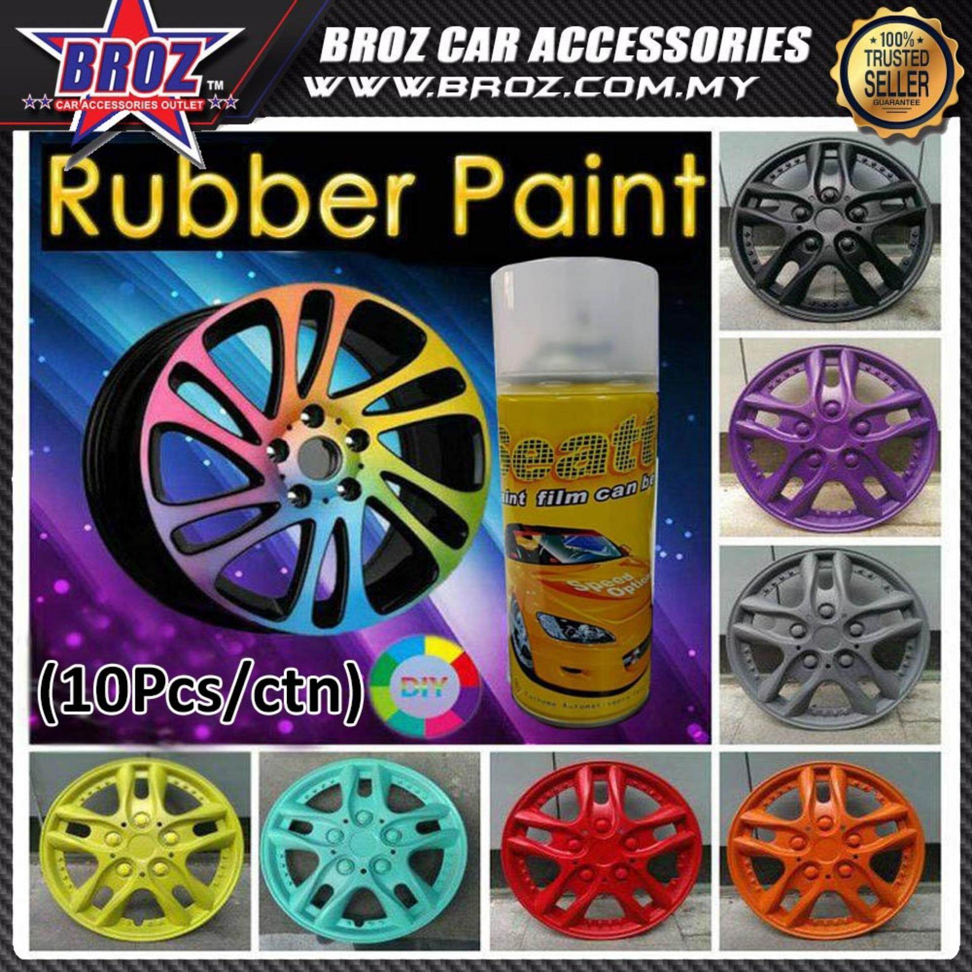 White 10pcs x Removable Car Wheel Rubber Spray Paint (450ML)