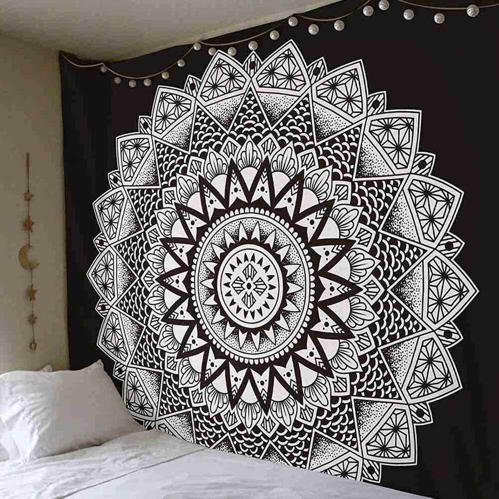 Yuero Mandala Bohemia Tapestry Wall Hanging Colored Printed Decorative Tapestry Indian Floral Boho Wall Carpet Printed Tapestry Bedspread Beach Towel 200*150cm (D)