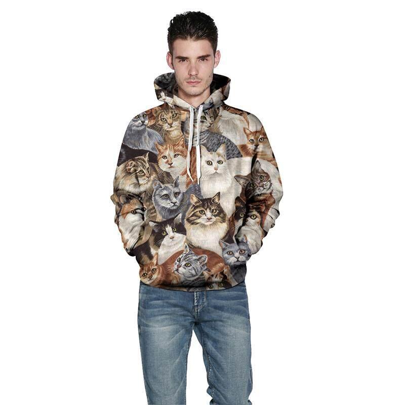 Pria Wanita Mode Terkini Cap Kaus Sweter Bertudung Kasual 3D Kucing Jaket  Tudung Sablon Berkerudung 819307b2ed