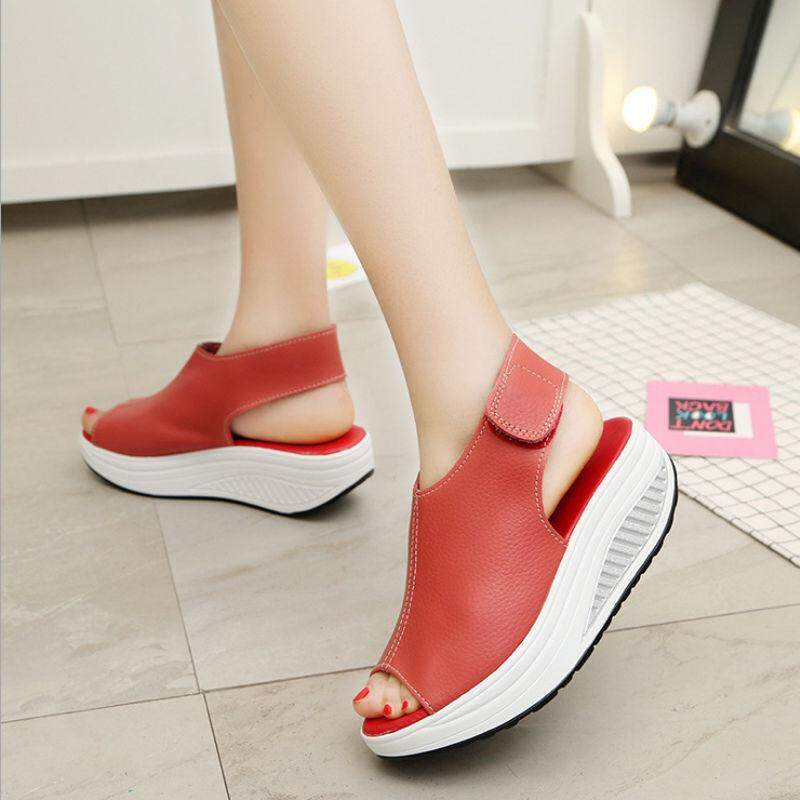 a5d6c7707f3 Summer Thick Platform Women Female Casual Sandals Peep Toe Shoe HOOk LOOP -  intl