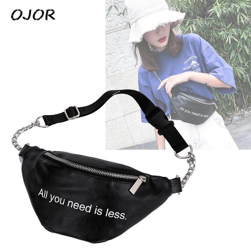OJOR Korean Style Hipster Chain Chest Bag Fashion PU Leateher Shoulder Bags Messenger bag Women Beach