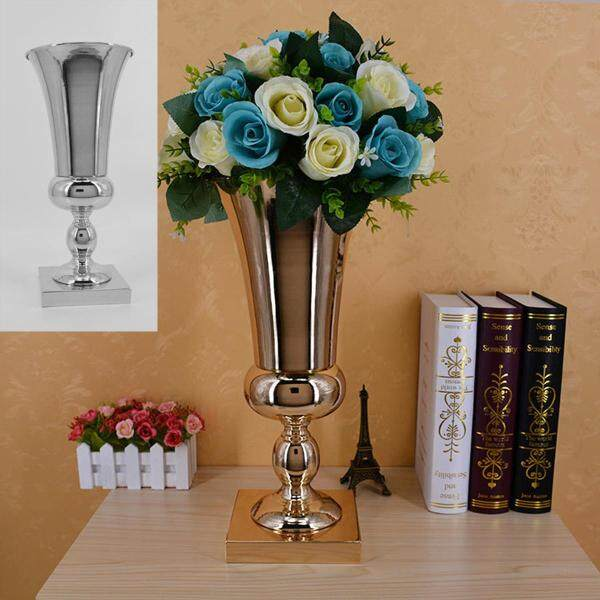 43cm Stunning Luxury Silver Gold Flower Vase Wedding Table Centrepiece Decor