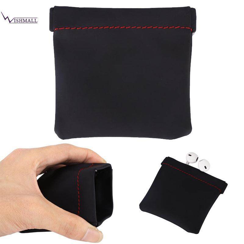 Earphone Storage Bag Earphones Accessories Pu Carrying Pouch Headset Box Black By Wishmall.
