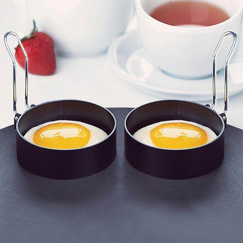 Outops 2pcs Nonstick Stainless Steel Handle Round Egg Rings Shape Pancakes Molds Ring 7.5cm Diameter