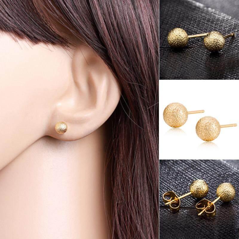 Gracekarin Online Gold Scrub Punk Bola Bundar Manik-manik Vintage Telinga Anting Stud Wanita Perhiasan