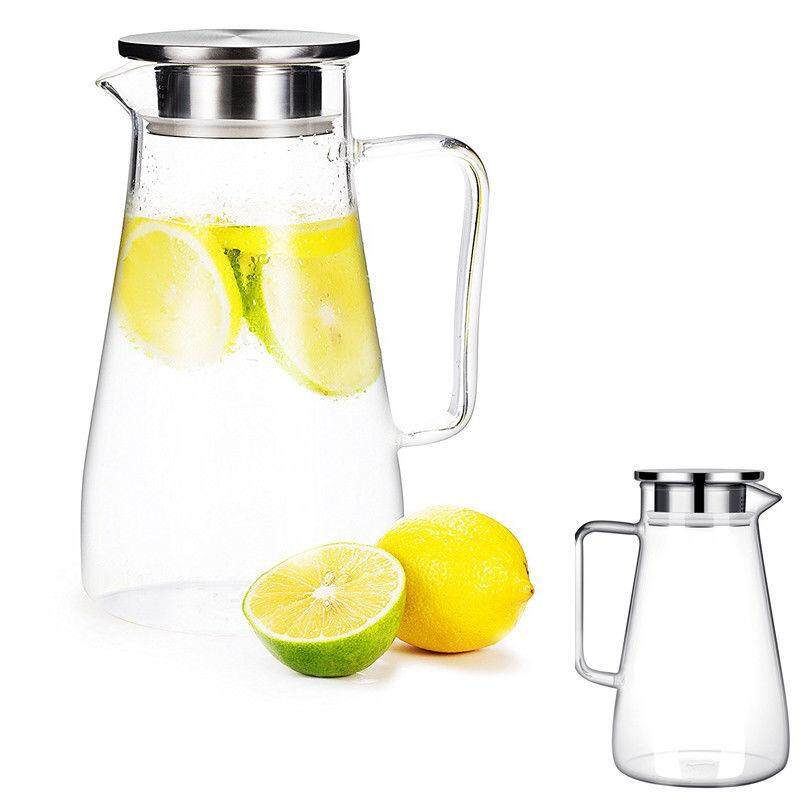 Ga Glass Pitcher 1.5l Jug Water Juice Carafe Cocktail With Stainless Steel Lid By Glimmer.