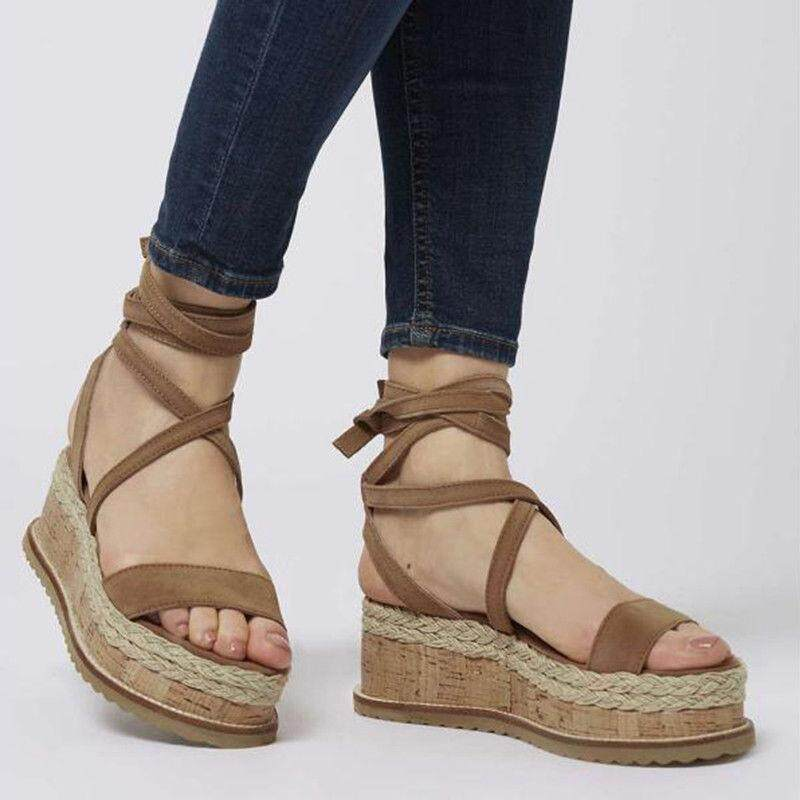 67a8b543a China. Women Summer Strappy Peep Espadrille Sandals Gladiator Beach  Platform Flat Shoes
