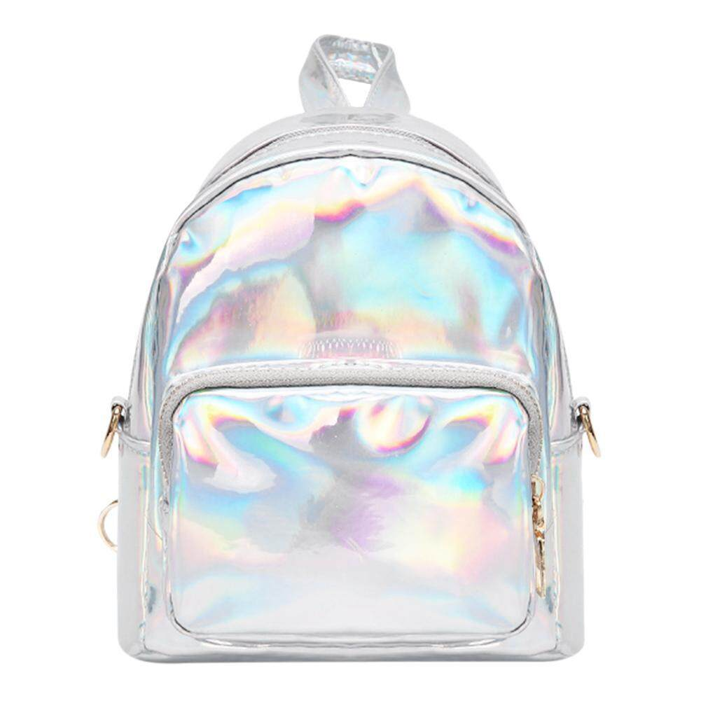 Anything4you Women Hologram Laser PU Leather Mini Backpacks Teenage Zipper Shoulder Bags - intl