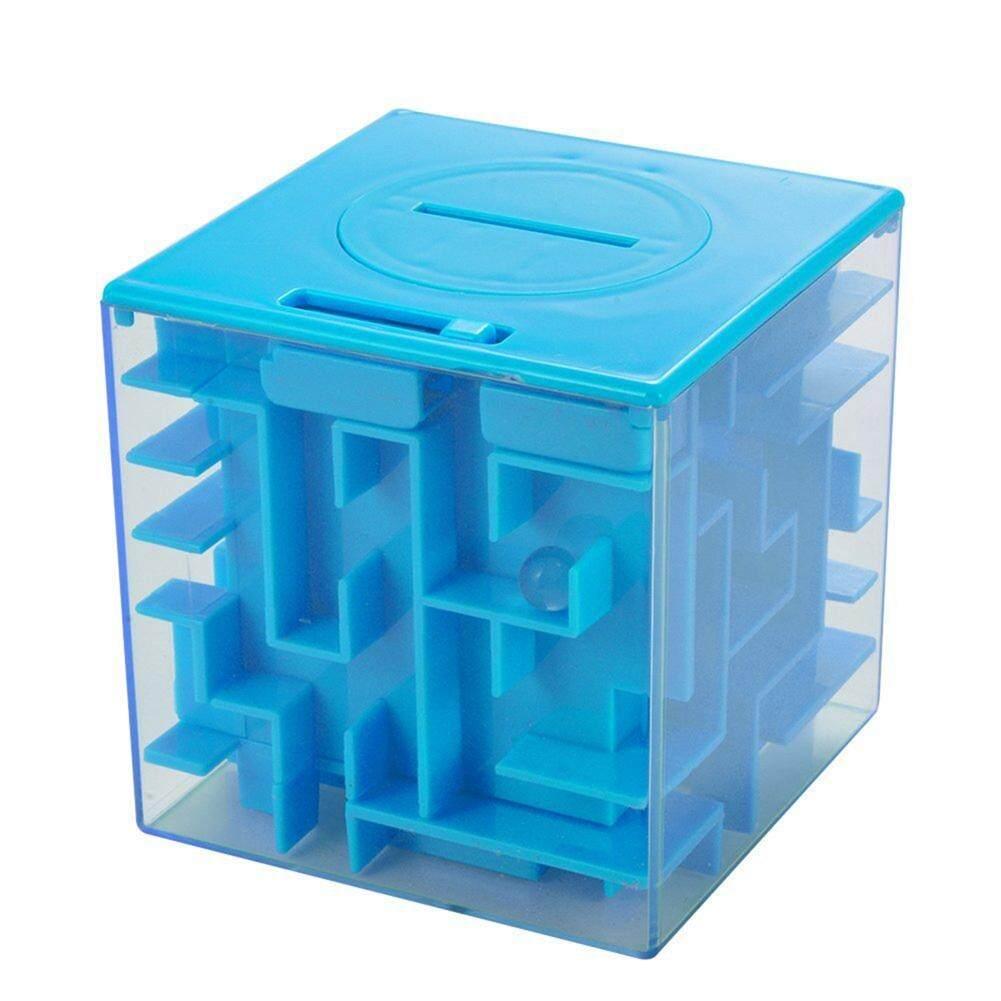 1pcs 3D Cube Money Maze Bank Crystal Inverted Bead Storage Money Maze Piggy Bank Brain Teasers