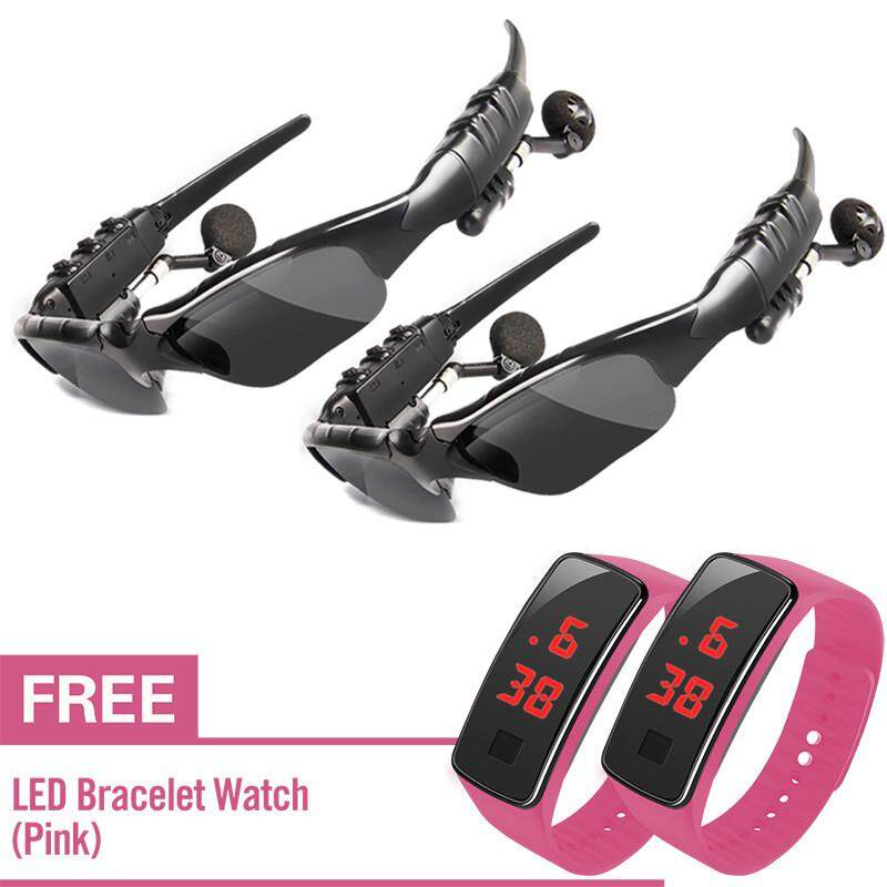 f5b63d8aae3c Headset Sunglasses MP3 Player with Bluetooth Sun Glasses with Free LED  Watch set of 2