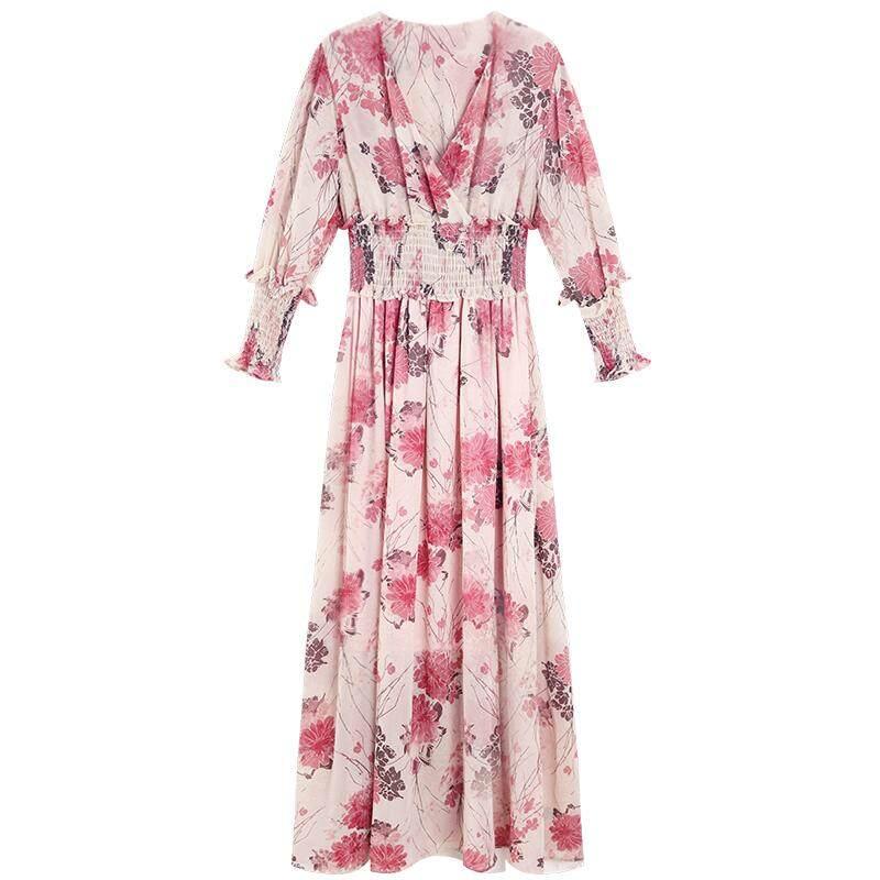 Musim semi dan musim panas Floral Sifon gaun peri Elegan wanita yang bermoral chic gaun panjang Retro Korea Selatan I-style murid Super elegan Gadis Mori - 5