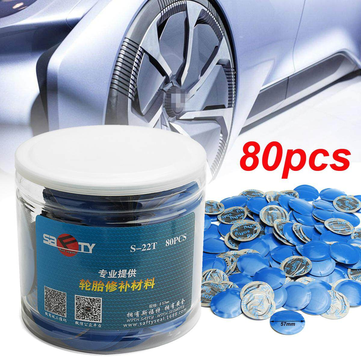 Universal 80pcs 57mm Natural Rubber Wired Tyre Puncture Repair Mushroom Patch By Teamtop.
