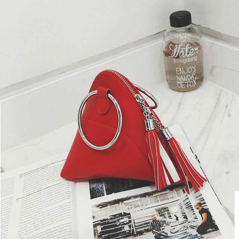 New Fashion Women Bag Rice Dumpling Handbag PU Mini Tassel Triangle Female Bag NB044