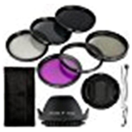 Black 6pcs UV CPL ND Filter + Lens Lens Cover Lens Hood 58mm For Canon EOS Rebel XSi T4i T3i 1DX 5D Mark 5D2 5D3
