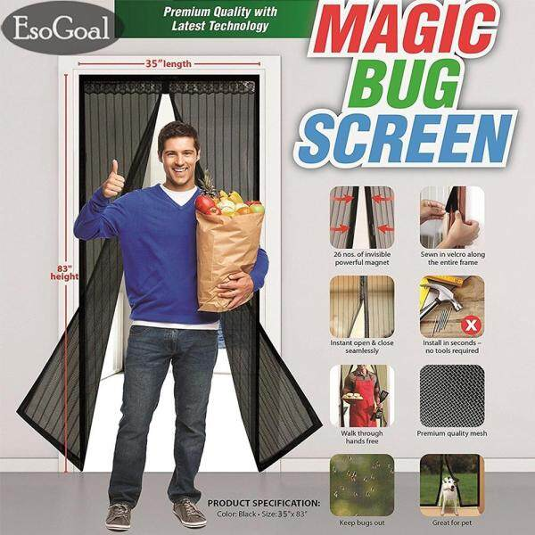 EsoGoal Magnetic Screen Door with Heavy Duty Mesh Curtain and Full Frame Velcro Keep Bugs Out,Let Fresh Air In.Screen Door Mesh Is Bulit Tough,Close Automaticlly (35  x 83  /90 x 210cm) - intl