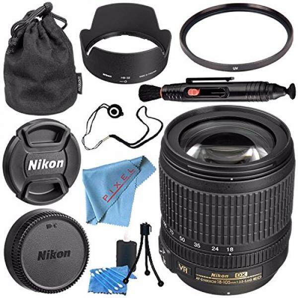Nikon AF-S DX Nikkor 18-105 Mm F/3.5-5.6G ED Lensa VR 2179 + 67 Mm filter Uv + Lensa Pembersih Pensil + Fibercloth + Lensa Capkeeper + Lensa Peralatan Pembersih Bundle